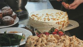 The concept of cooking. Professional pastry chef makes a delicious cake, closeup. The concept of cooking. Professional pastry chef prepares a delicious cake with stock video footage
