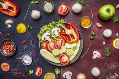 Concept cooking vegetarian food sliced cucumbers, tomatoes, onions mushrooms lettuce cucumbers apples in a pan with spices and her Royalty Free Stock Images