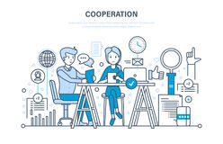 Concept of cooperation, collaboration, partnerships, teamwork, sales, marketing, discussion. Concept of cooperation, collaboration, partnerships, teamwork Royalty Free Stock Images