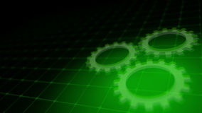 Concept of cooperation process - green neon gears 3D render. Concept of cooperation process with rotating neon gears - 3D render Royalty Free Stock Image