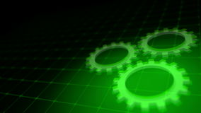 Concept of cooperation process - green neon gears loop 3D render stock video footage