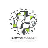 Concept of Cooperation Teamwork, Group, Partnership. Vector Icon Style Illustration Concept of Cooperation Teamwork, Group, Partnership, Isolated Modern Symbol Stock Photo