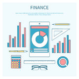 Concept of corporate finance. Business management, financial planning with calculator, smartphone, financial documents. Modern design flat icon collection Royalty Free Stock Photos