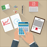 Concept of corporate finance. Business management, financial planning with top view office desk, calculator, calendar, financial documents and businessman hand Stock Photos