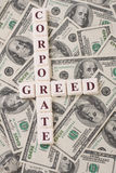 Corporate Greed and Money Stock Images