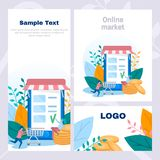Concept corporate style flyer of online shop, online purchase, online store, sale and purchase, web page. Color flat vector design royalty free stock photos