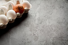 Concept of correct choice eggs on dark background top view Royalty Free Stock Photography