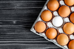 Concept of correct choice eggs on wooden background top view Stock Photo