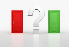 Concept of correct and wrong choice. Big question mark between r. Ed and green door on white background. 3d render Royalty Free Stock Photos
