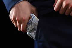 Concept for corruption, bankruptcy, bail, crime, bribing, fraud. Bundle of dollar cash in hand. Concept for corruption, bankruptcy, bail, crime, bribing, fraud Stock Photos