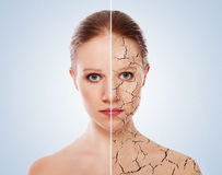 Concept of cosmetic effects, treatment, skin care Royalty Free Stock Photo