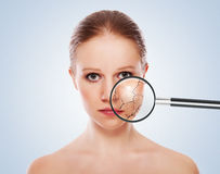 Concept of cosmetic effects, treatment, skin care Royalty Free Stock Images