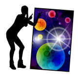 Concept cosmos inside us. yoga. Titats and statuses Royalty Free Stock Photo