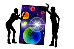Concept cosmos inside us. yoga. Titats and statuses Stock Image
