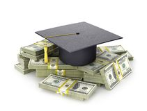 Concept, the cost of education. The graduate`s hat on a bundle of dollar bill. 3d illustration Stock Images
