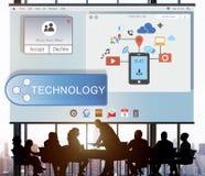 Concept coulant en ligne de technologie du sans fil de transfert de technologie photographie stock