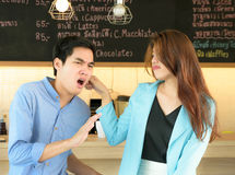 Concept Couples activities. Concept Couples  activities in the coffee shop,Couples Angry Royalty Free Stock Photo