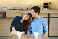 Concept Couples activities. In the coffee shop,Living in store stock photography