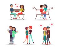 Concept of Couples in Love on White Background. Pair of lovers sits on dark bench, cuddling and holds ice cream vector illustration Stock Photo
