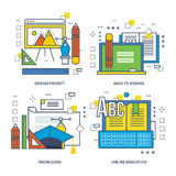 Concept of course program, innovation, design training, mobile learning. Color Line icons collection stock illustration