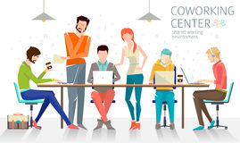 Concept of the coworking center. Business meeting. Shared working environment. People talking and working at the computers in the open space office. Flat royalty free illustration