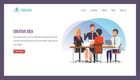 Concept créateur d'idée Collaboration des collègues d'affaires, séance de réflexion d'équipe illustration de vecteur