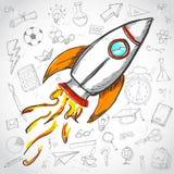 Concept créateur Rocket Launch Education Doodles Background illustration libre de droits