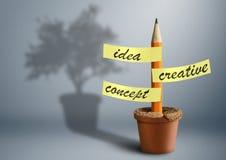 Concept créatif d'idée, crayon avec des autocollants comme arbre dans le pot Images libres de droits