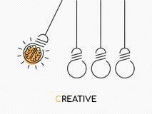 Concept créatif d'idée de cerveau en tant qu'ampoule Image libre de droits