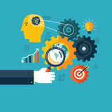 Concept créatif de déroulement des opérations, d'optimisation de moteur de recherche ou de séance de réflexion Images stock