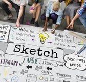 Concept créatif de graphique de conception de dessin de notes de croquis Images libres de droits