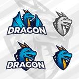 Concept créatif de logo de dragon Conception de mascotte de sport Insignes de ligue d'université, signe asiatique de bête, illust Photos stock