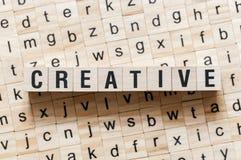 Concept créatif de mot sur des cubes image libre de droits