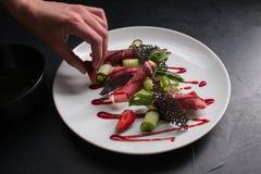 Concept créatif de repas de restaurant de style de photo de nourriture photos libres de droits
