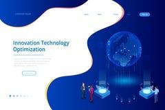 Concept créatif isométrique de technologie d'innovation Interface de carte du monde et intelligence artificielle illustration de vecteur