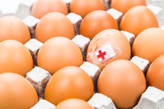 Concept of cracked egg with bandage placed with other eggs on tr Stock Photos