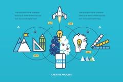 Concept - creatief proces het denken en totstandbrengingsideeën, inspiratie stock illustratie