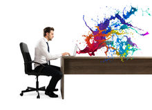 Concept of creative business with businessman working with laptop Stock Photo