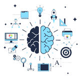 Concept creative design process. The concept of the creative design process, search, and successful problem solving, brainstorming, good idea, brain activity Stock Photo