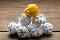 Concept creative idea. concept of creative idea. Balls of crumpled paper. metaphor, inspiration stock image