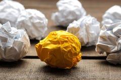 Concept creative idea. concept of creative idea. Balls of crumpled paper. metaphor, inspiration stock photos