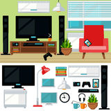 Concept of creative living room with chair and tv Stock Photos