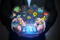 Concept of creative mulitmedia icons flying over a technology in Stock Images
