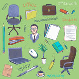 Concept of creative office room interior workspace, workplace. Royalty Free Stock Image