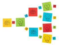 Concept of creative process. Colored paper sheets. Stock Photos