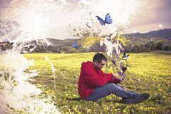 Creative technology. Concept of creative technology with boy and tablet royalty free stock images