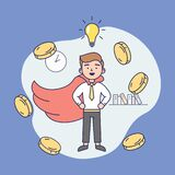 Concept Of Creativity, Business Success. Happy Young Businessman With Lots Of Gold Coins Flying Around. Successful Man