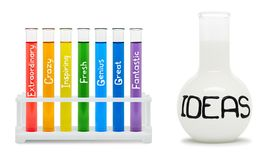 Concept of creativity with colored flasks. Royalty Free Stock Image