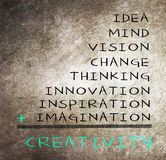 Concept of creativity. Consists of idea, mind, vision, change, thinking, inspiration, innovation and imagination Stock Image