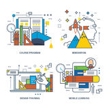 Concept of creativity, vision, knowledge, idea generation. Color Line icons collection Royalty Free Stock Images